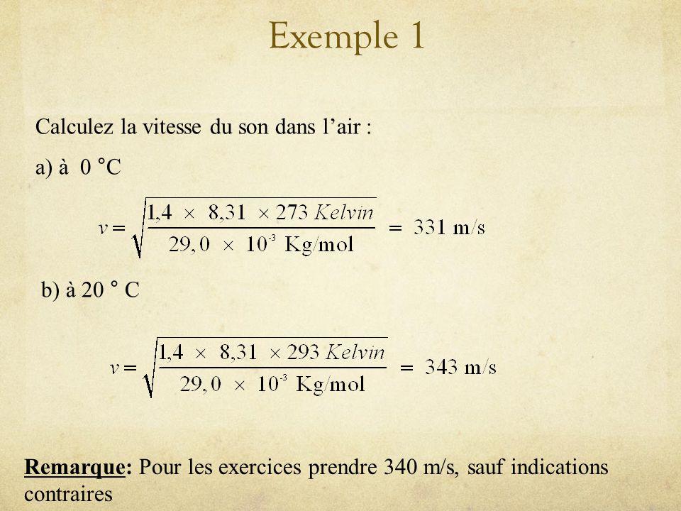 Vitesse de londe sonore (suite) Dans un gaz Où est un paramètre caractéristique du gaz (entre 1 et 1,67) Où T est la température en Kelvin Où R est la