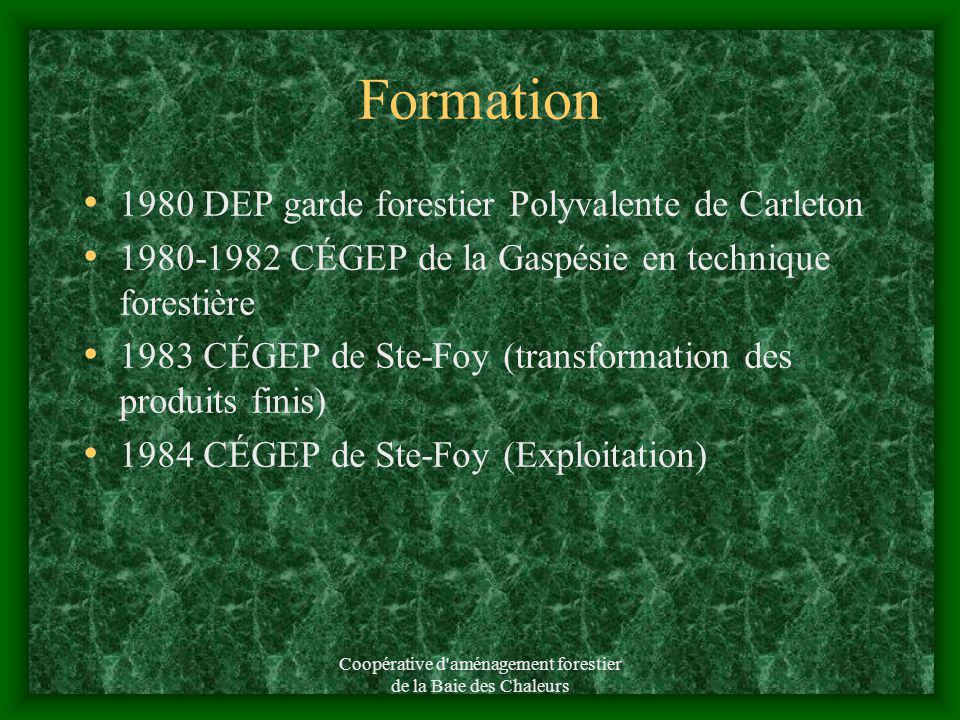 Coopérative d aménagement forestier de la Baie des Chaleurs Formation 1980 DEP garde forestier Polyvalente de Carleton 1980-1982 CÉGEP de la Gaspésie en technique forestière 1983 CÉGEP de Ste-Foy (transformation des produits finis) 1984 CÉGEP de Ste-Foy (Exploitation)