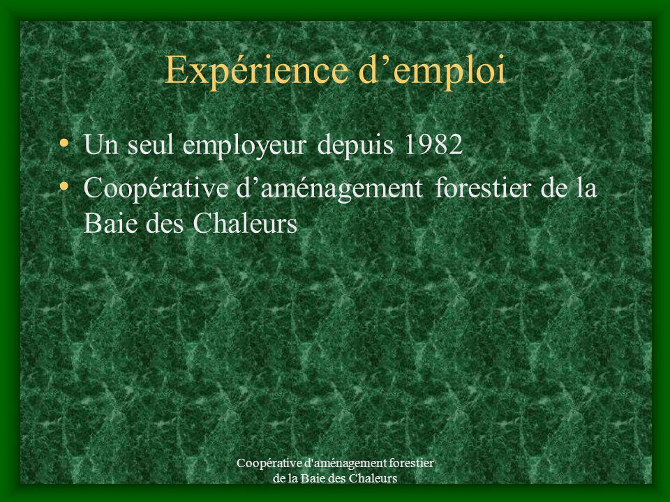 Coopérative d aménagement forestier de la Baie des Chaleurs Expérience demploi Un seul employeur depuis 1982 Coopérative daménagement forestier de la Baie des Chaleurs