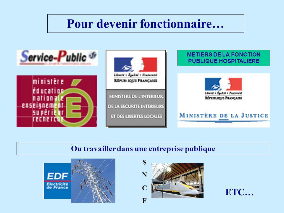 Pour devenir fonctionnaire… METIERS DE LA FONCTION PUBLIQUE HOSPITALIERE Ou travailler dans une entreprise publique SNCFSNCF ETC…