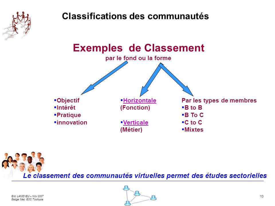 Eric LAMIDIEU – Nov 2007 Badge Miec ESC Toulouse 13 Horizontale (Fonction) Verticale (Métier) Exemples de Classement par le fond ou la forme Classific