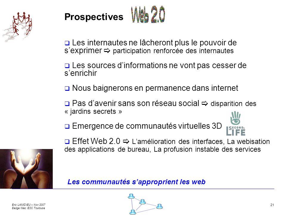 Eric LAMIDIEU – Nov 2007 Badge Miec ESC Toulouse 21 Prospectives Les internautes ne lâcheront plus le pouvoir de sexprimer participation renforcée des