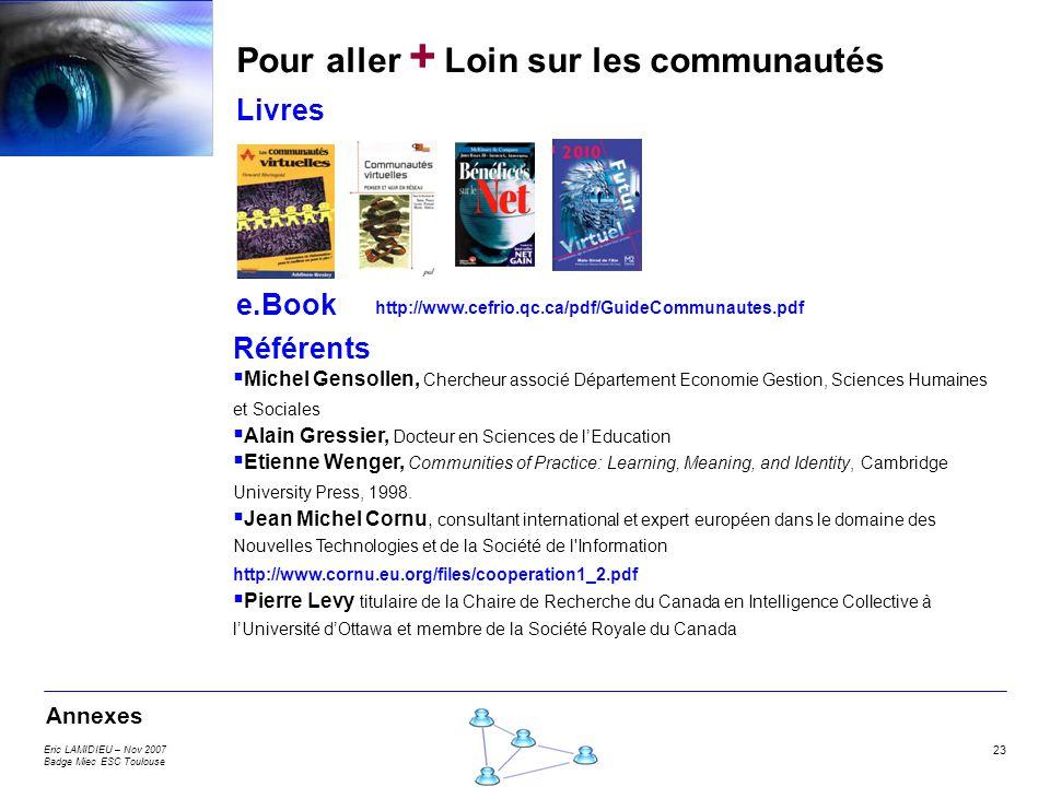 Eric LAMIDIEU – Nov 2007 Badge Miec ESC Toulouse 23 Pour aller + Loin sur les communautés Livres e.Book Référents Michel Gensollen, Chercheur associé