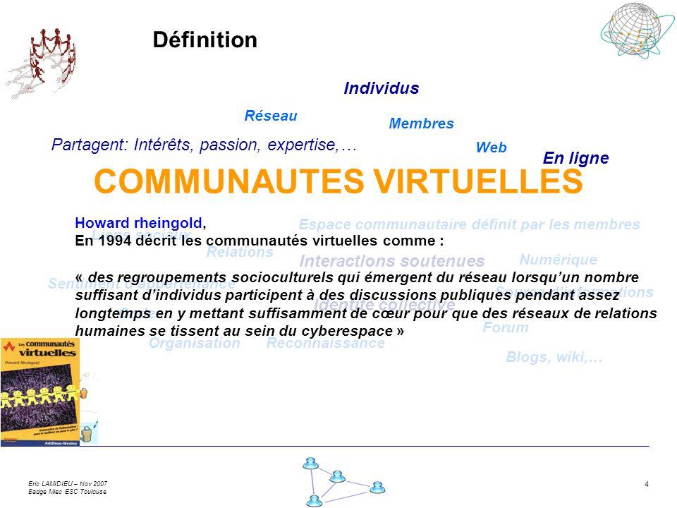 Eric LAMIDIEU – Nov 2007 Badge Miec ESC Toulouse 4 Définition Réseau Liens sociaux Sentiment dappartenance Interactions soutenues Partagent: Intérêts,