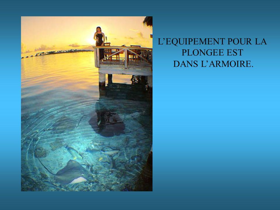 LEQUIPEMENT POUR LA PLONGEE EST DANS LARMOIRE.