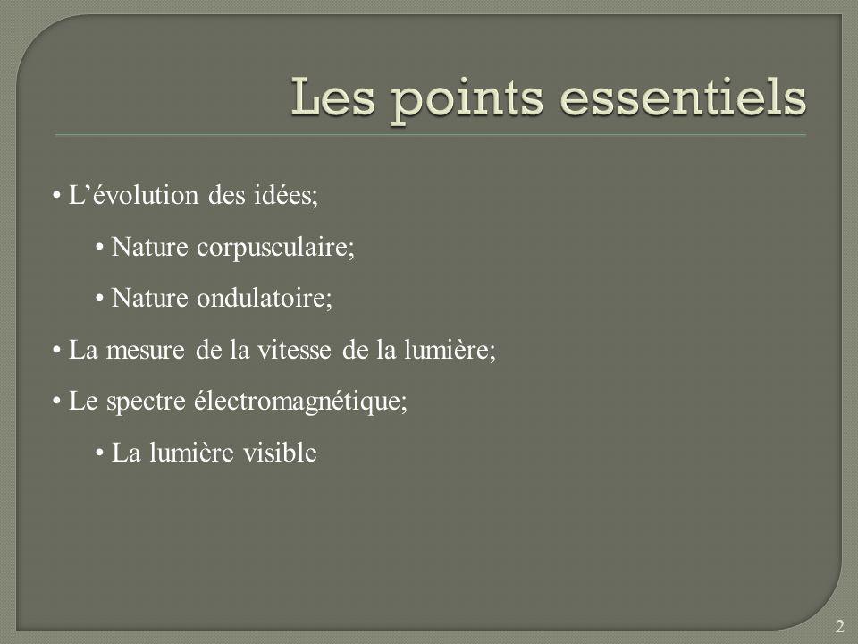 Lévolution des idées; Nature corpusculaire; Nature ondulatoire; La mesure de la vitesse de la lumière; Le spectre électromagnétique; La lumière visible 2