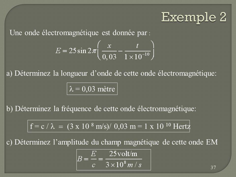 Soit un rayon X dont la fréquence est de 3 x 10 18 Hz. Calculez la longueur donde de cette onde électromagnétique. 36