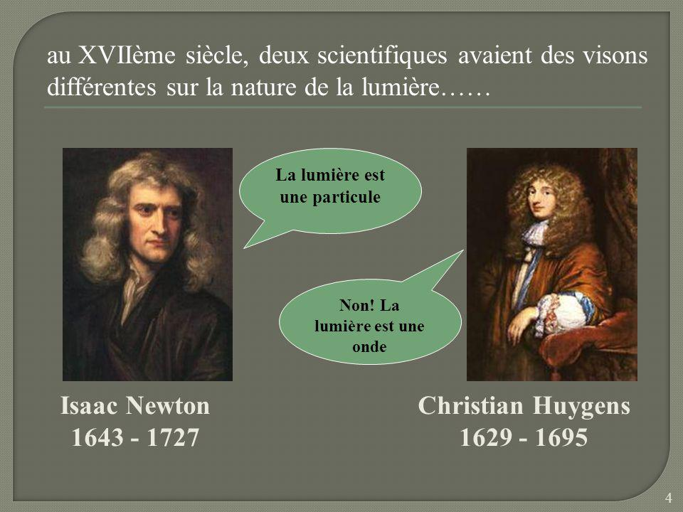 au XVIIème siècle, deux scientifiques avaient des visons différentes sur la nature de la lumière…… Isaac Newton 1643 - 1727 La lumière est une particule Christian Huygens 1629 - 1695 Non.