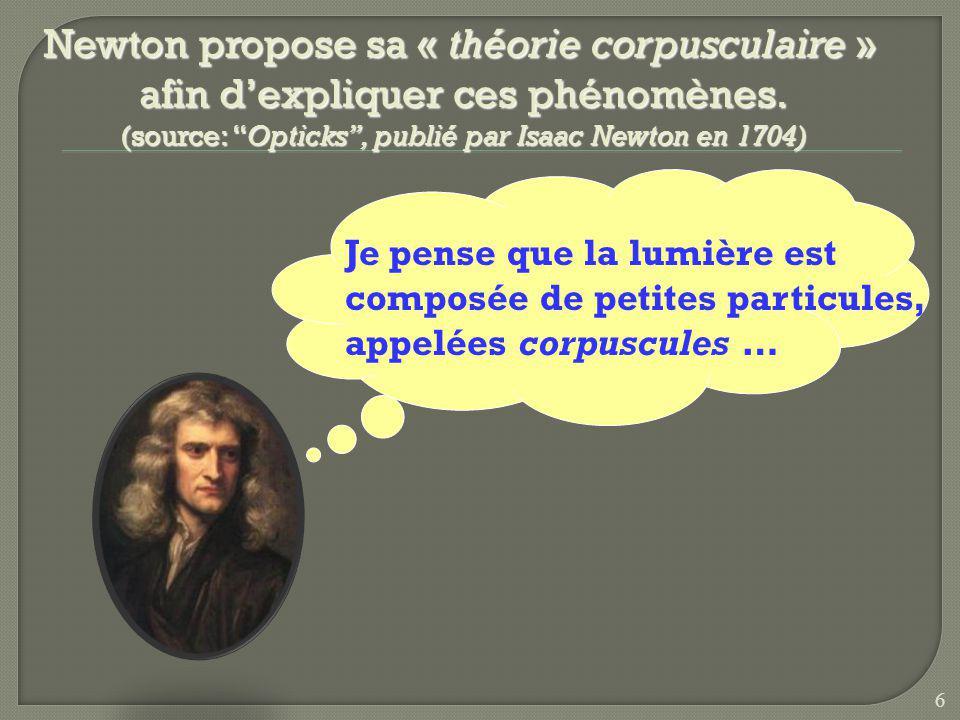 Newton propose sa « théorie corpusculaire » afin dexpliquer ces phénomènes.