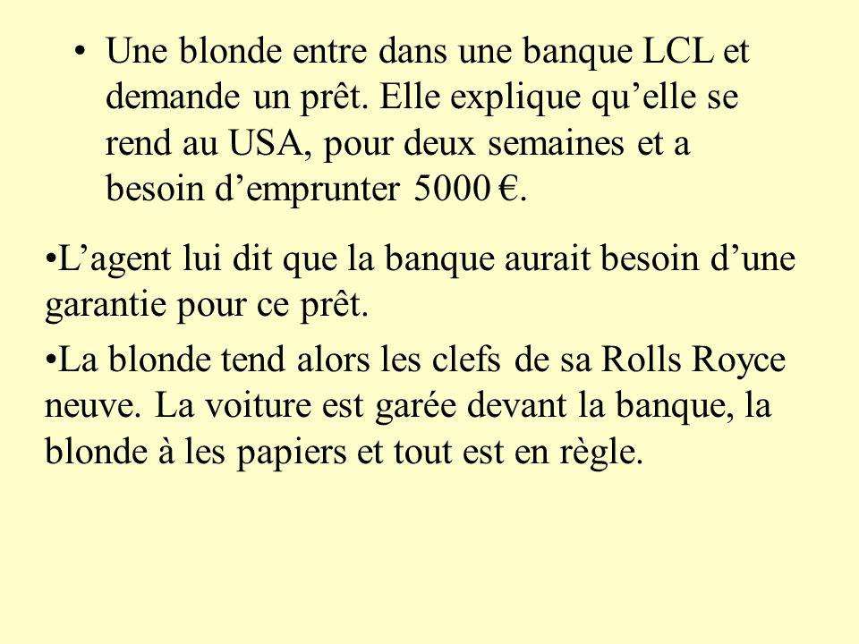 Une blonde entre dans une banque LCL et demande un prêt.