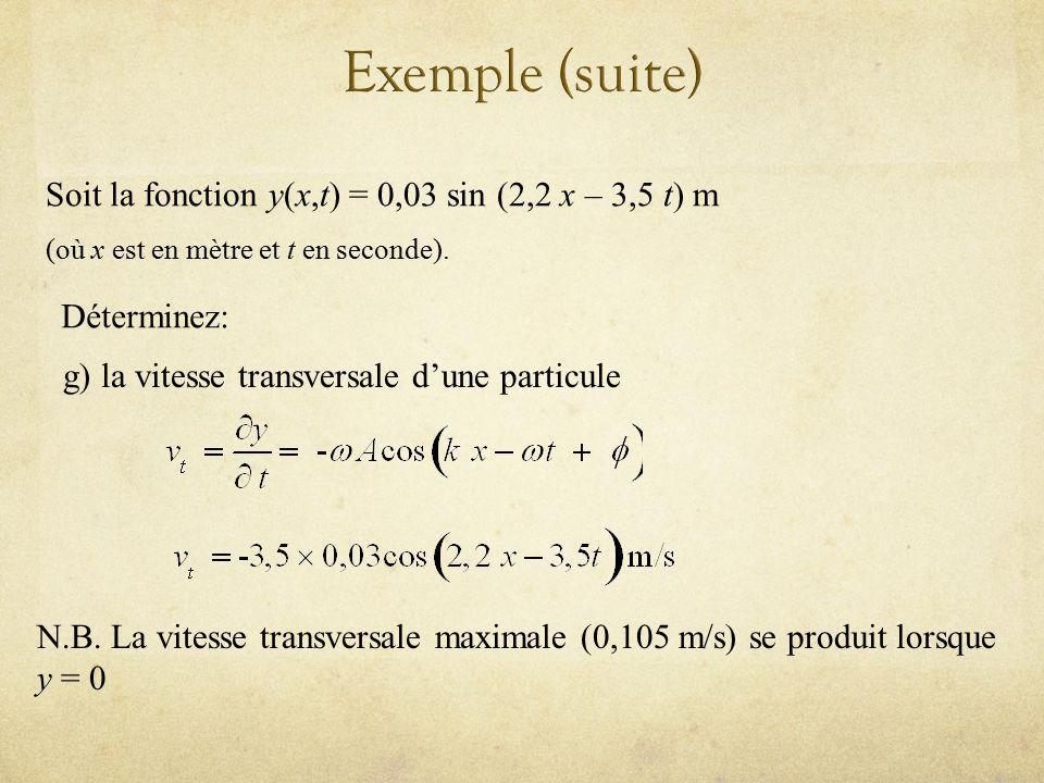 Soit la fonction y(x,t) = 0,03 sin (2,2 x – 3,5 t) m (où x est en mètre et t en seconde). Déterminez: g) la vitesse transversale dune particule N.B. L