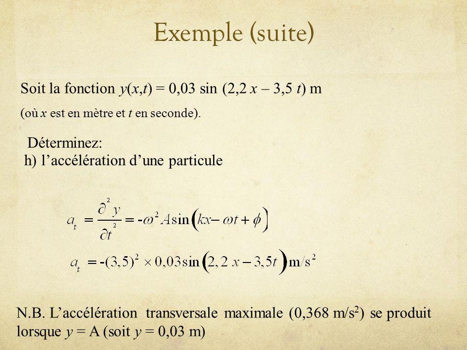 Soit la fonction y(x,t) = 0,03 sin (2,2 x – 3,5 t) m (où x est en mètre et t en seconde). Déterminez: h) laccélération dune particule N.B. Laccélérati