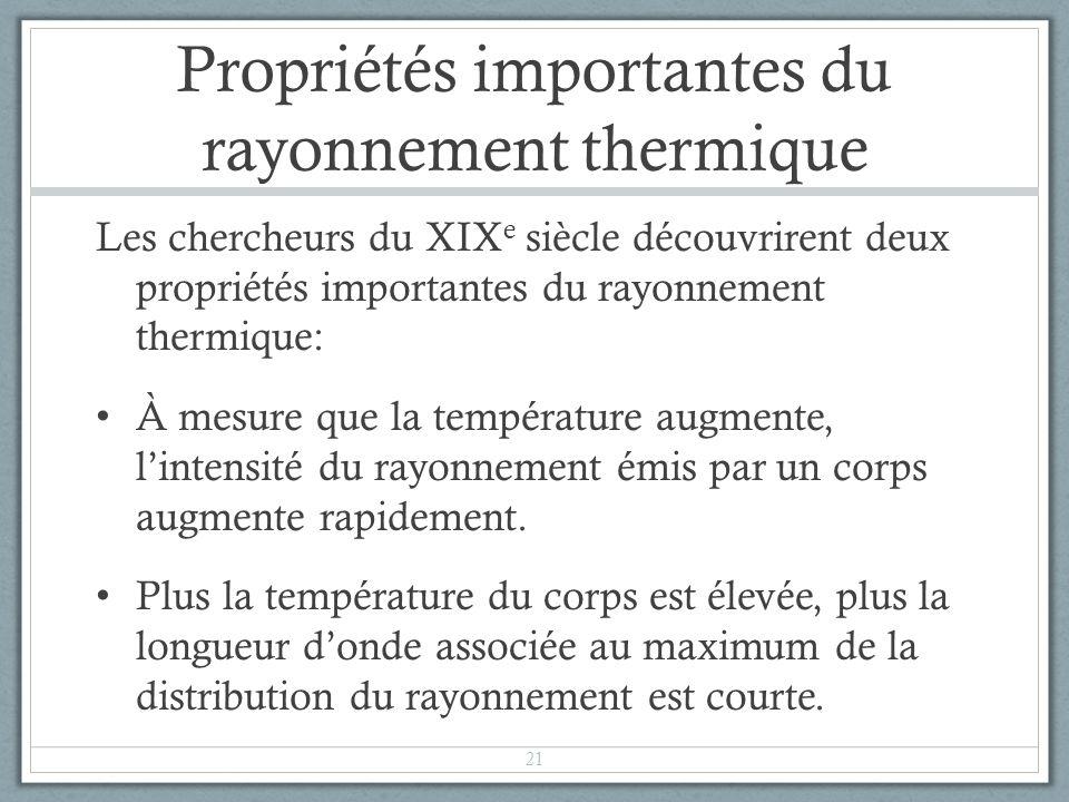 Propriétés importantes du rayonnement thermique Les chercheurs du XIX e siècle découvrirent deux propriétés importantes du rayonnement thermique: À me