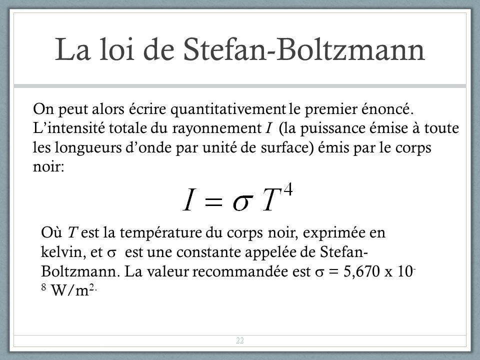 La loi de Stefan-Boltzmann On peut alors écrire quantitativement le premier énoncé. Lintensité totale du rayonnement I (la puissance émise à toute les