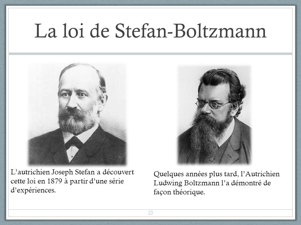 La loi de Stefan-Boltzmann Lautrichien Joseph Stefan a découvert cette loi en 1879 à partir dune série dexpériences. Quelques années plus tard, lAutri