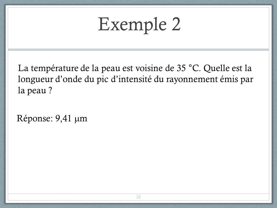 La température de la peau est voisine de 35 °C. Quelle est la longueur donde du pic dintensité du rayonnement émis par la peau ? Réponse: 9,41 m 26