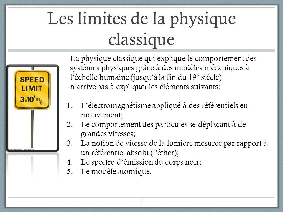 Les limites de la physique classique 1.Lélectromagnétisme appliqué à des référentiels en mouvement; 2.Le comportement des particules se déplaçant à de