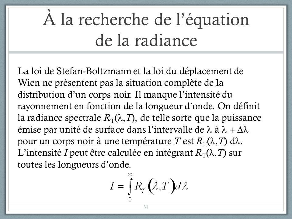 À la recherche de léquation de la radiance La loi de Stefan-Boltzmann et la loi du déplacement de Wien ne présentent pas la situation complète de la d