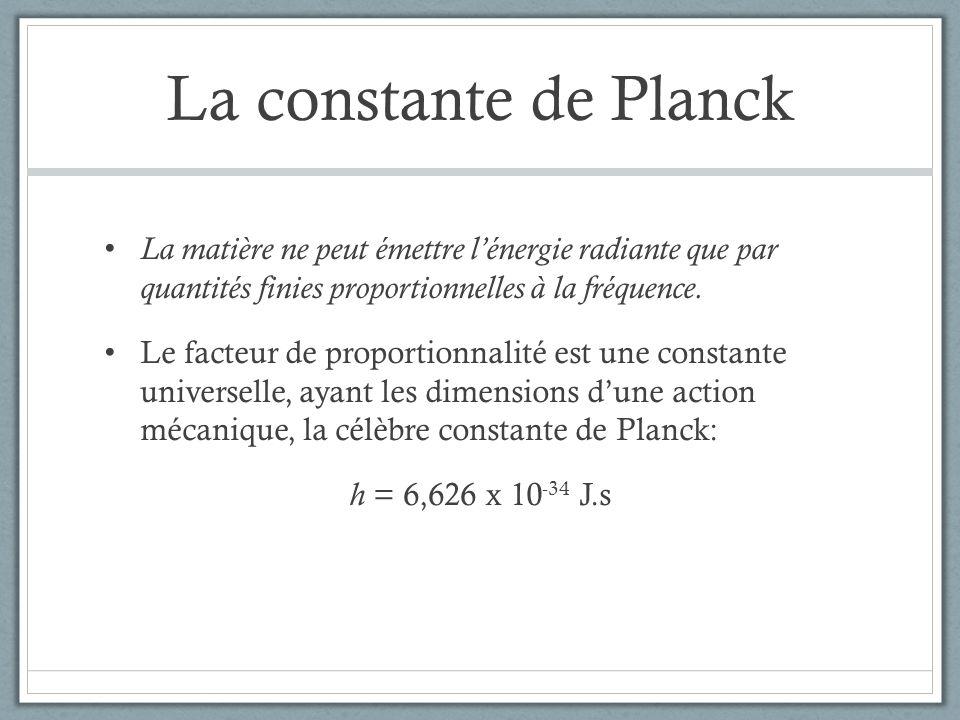 La constante de Planck La matière ne peut émettre lénergie radiante que par quantités finies proportionnelles à la fréquence. Le facteur de proportion