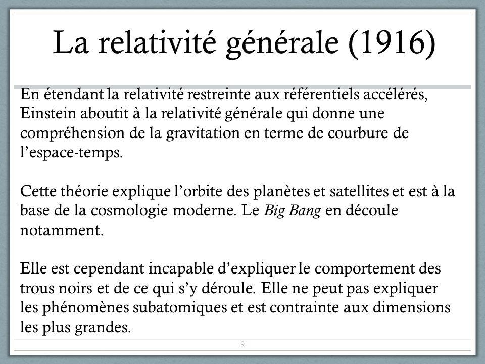 En étendant la relativité restreinte aux référentiels accélérés, Einstein aboutit à la relativité générale qui donne une compréhension de la gravitati
