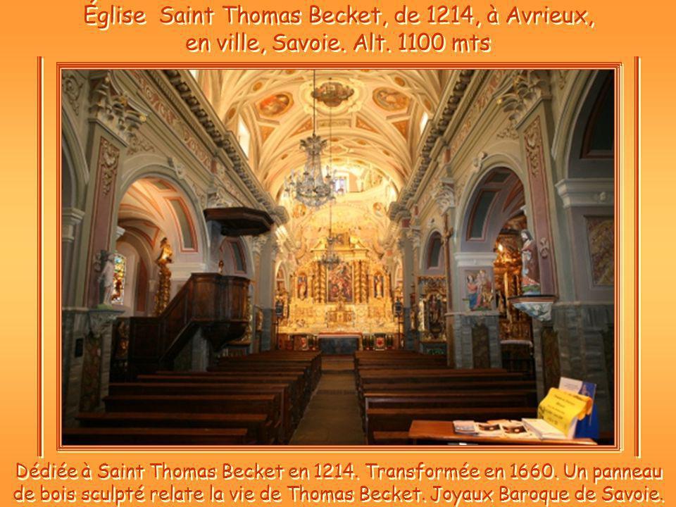 Église Saint Thomas Becket, de 1214, à Avrieux, en ville, Savoie.
