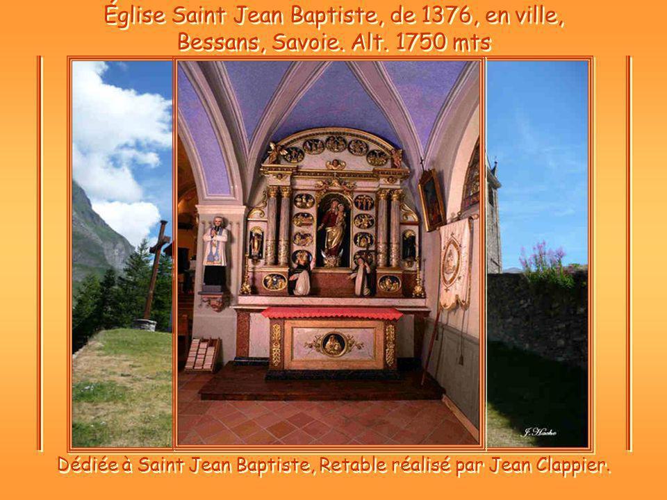 Église Saint Jean Baptiste, de 1376, en ville, Bessans, Savoie.