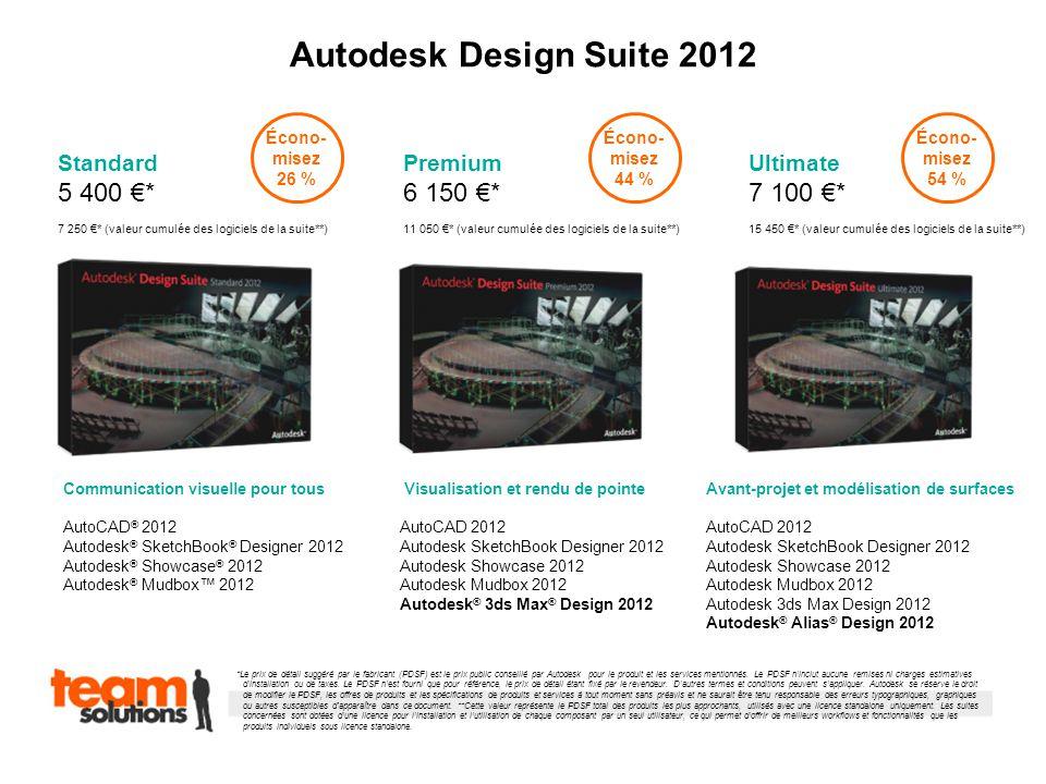 Autodesk Design Suite 2012 Standard 5 400 * 7 250 * (valeur cumulée des logiciels de la suite**) Premium 6 150 * 11 050 * (valeur cumulée des logiciels de la suite**) Ultimate 7 100 * 15 450 * (valeur cumulée des logiciels de la suite**) Communication visuelle pour tous AutoCAD ® 2012 Autodesk ® SketchBook ® Designer 2012 Autodesk ® Showcase ® 2012 Autodesk ® Mudbox 2012 Visualisation et rendu de pointe AutoCAD 2012 Autodesk SketchBook Designer 2012 Autodesk Showcase 2012 Autodesk Mudbox 2012 Autodesk ® 3ds Max ® Design 2012 Avant-projet et modélisation de surfaces AutoCAD 2012 Autodesk SketchBook Designer 2012 Autodesk Showcase 2012 Autodesk Mudbox 2012 Autodesk 3ds Max Design 2012 Autodesk ® Alias ® Design 2012 *Le prix de détail suggéré par le fabricant (PDSF) est le prix public conseillé par Autodesk pour le produit et les services mentionnés.