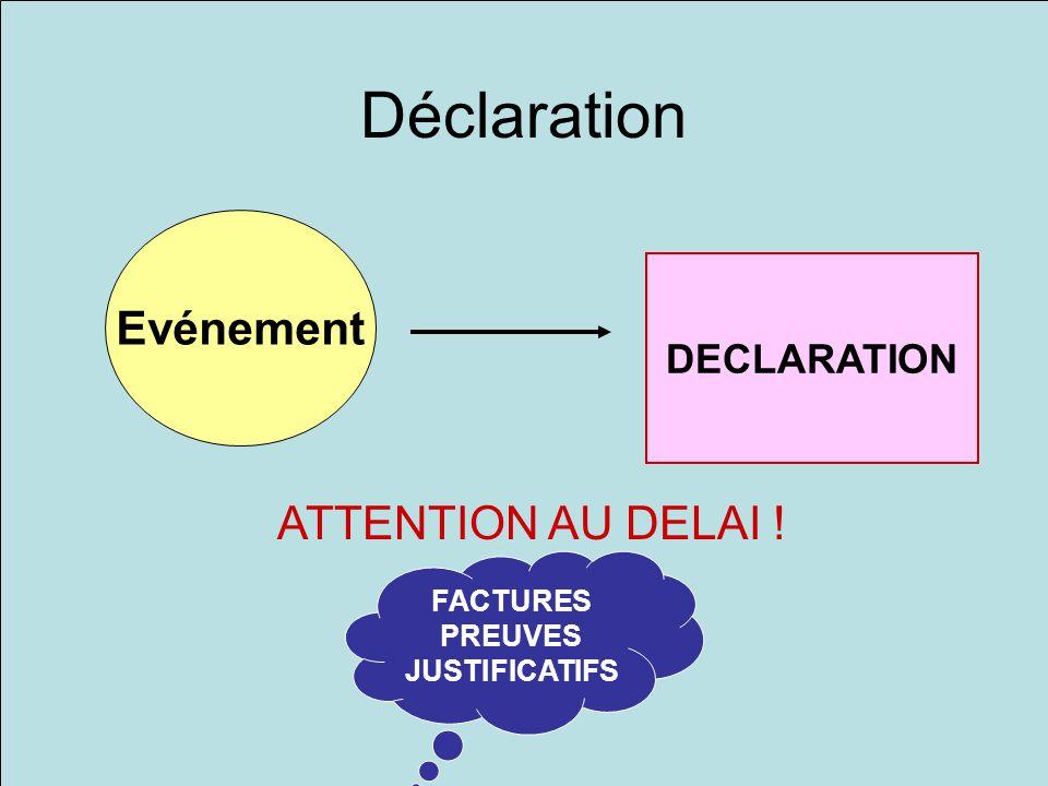 Déclaration Evénement DECLARATION ATTENTION AU DELAI ! FACTURES PREUVES JUSTIFICATIFS