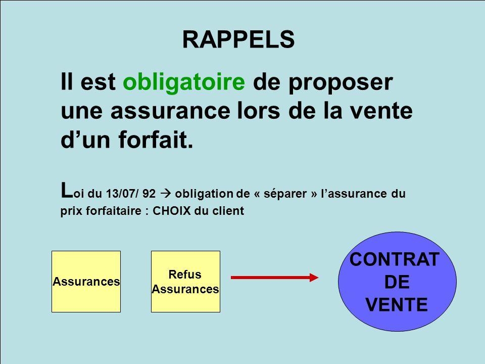 Il est obligatoire de proposer une assurance lors de la vente dun forfait. RAPPELS L oi du 13/07/ 92 obligation de « séparer » lassurance du prix forf