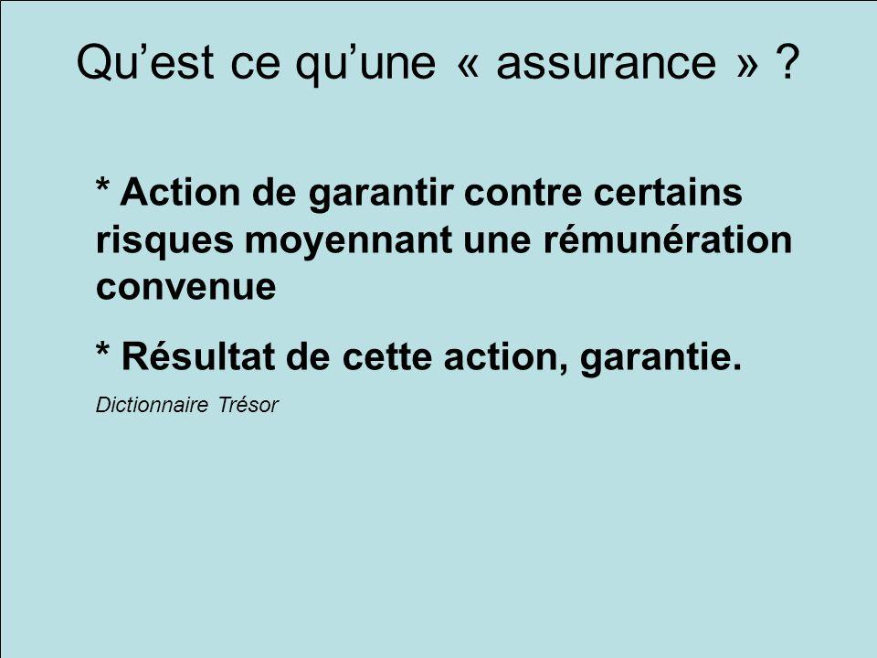 Quest ce quune « assurance » ? * Action de garantir contre certains risques moyennant une rémunération convenue * Résultat de cette action, garantie.