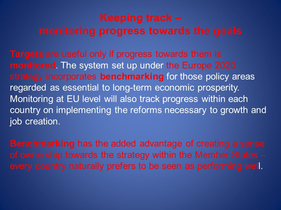 Keeping track – monitoring progress towards the goals Targets are useful only if progress towards them is monitored. The system set up under the Europ