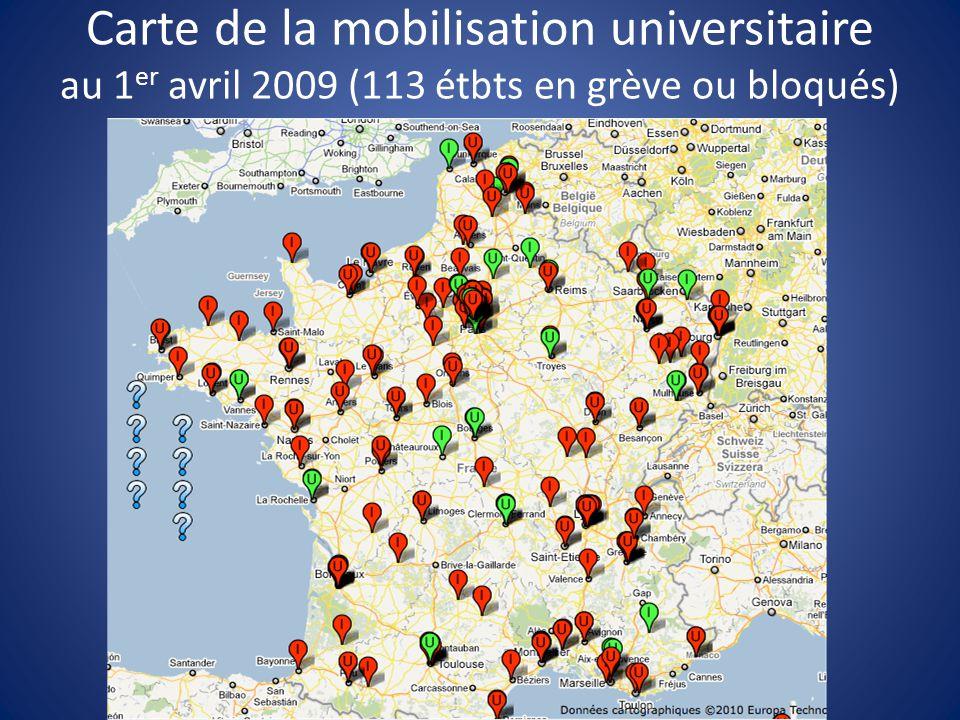Carte de la mobilisation universitaire au 1 er avril 2009 (113 étbts en grève ou bloqués)