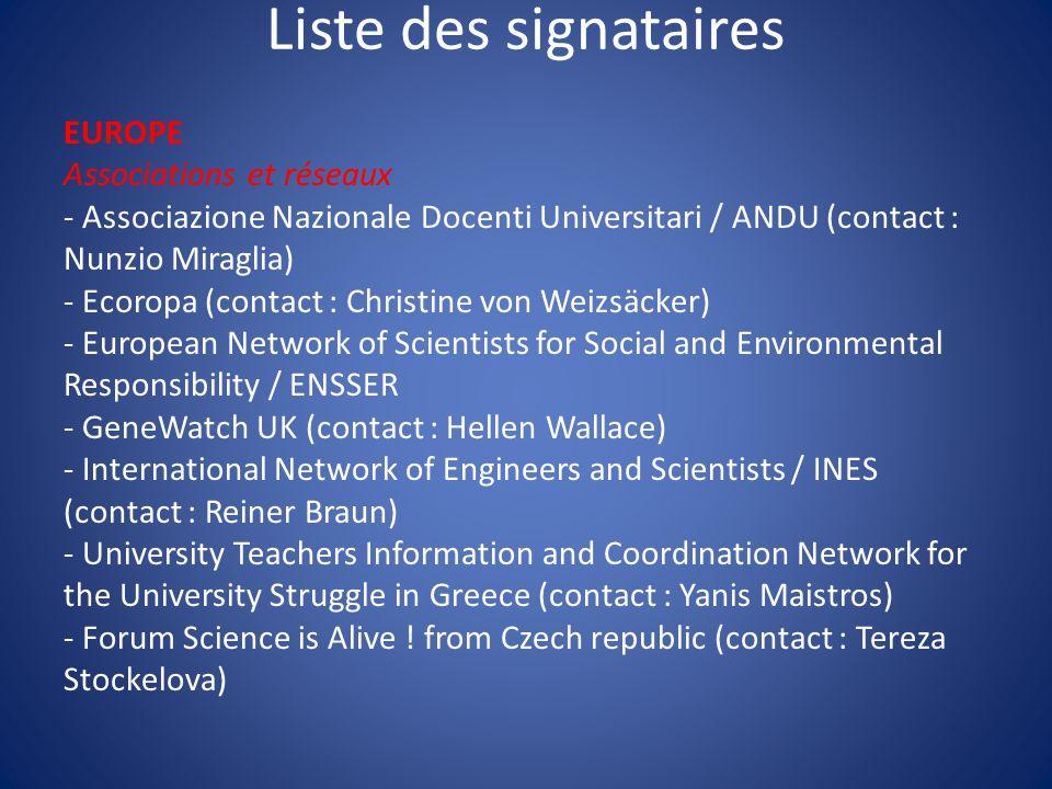 Liste des signataires EUROPE Associations et réseaux - Associazione Nazionale Docenti Universitari / ANDU (contact : Nunzio Miraglia) - Ecoropa (conta