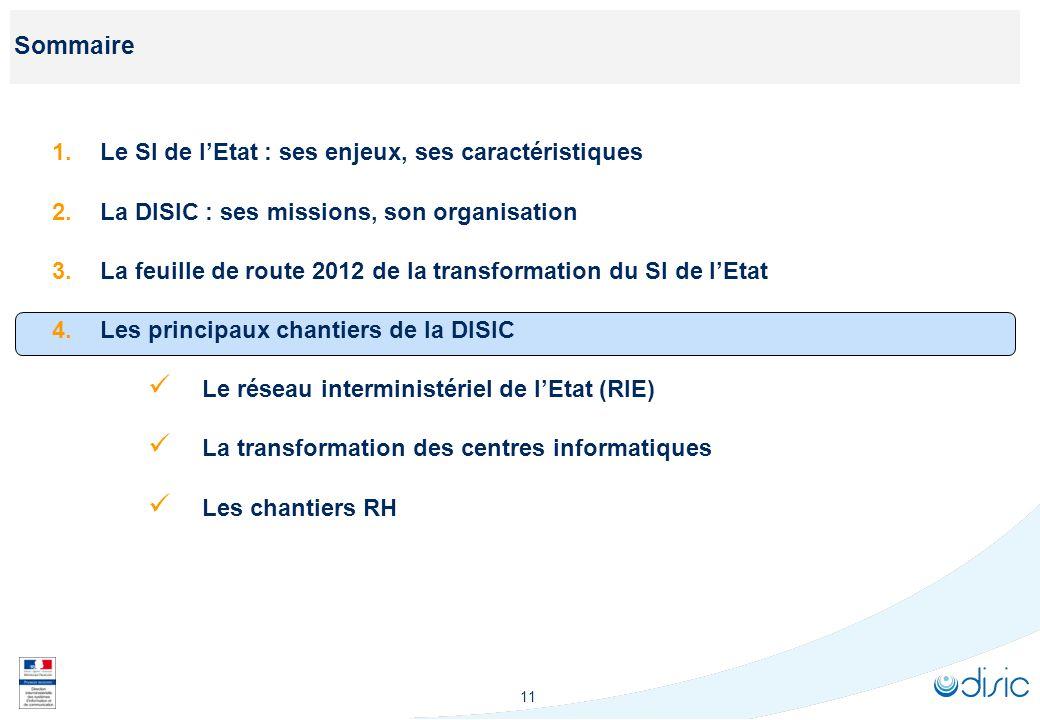 11 Sommaire 1.Le SI de lEtat : ses enjeux, ses caractéristiques 2.La DISIC : ses missions, son organisation 3.La feuille de route 2012 de la transform