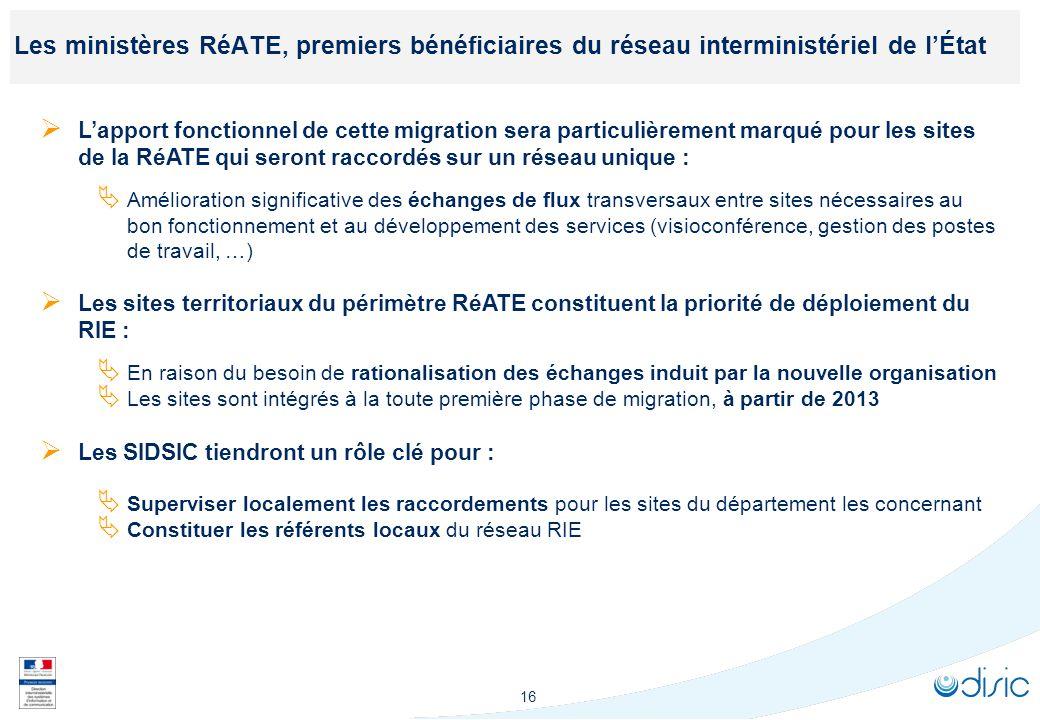 16 Les ministères RéATE, premiers bénéficiaires du réseau interministériel de lÉtat Lapport fonctionnel de cette migration sera particulièrement marqu