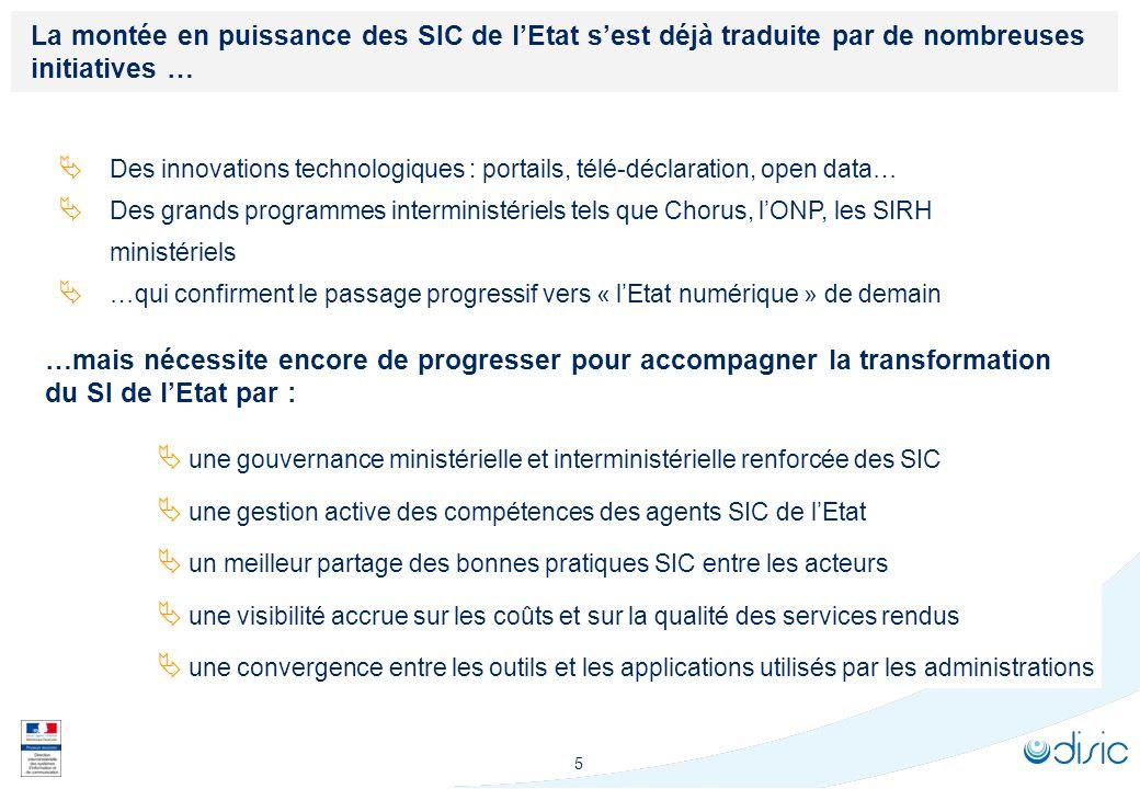 5 La montée en puissance des SIC de lEtat sest déjà traduite par de nombreuses initiatives … Des innovations technologiques : portails, télé-déclarati