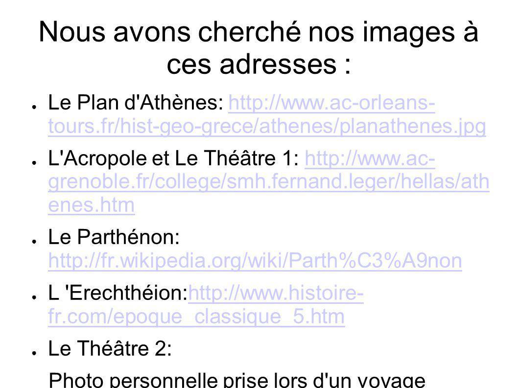 Nous avons cherché nos images à ces adresses : Le Plan d Athènes: http://www.ac-orleans- tours.fr/hist-geo-grece/athenes/planathenes.jpghttp://www.ac-orleans- tours.fr/hist-geo-grece/athenes/planathenes.jpg L Acropole et Le Théâtre 1: http://www.ac- grenoble.fr/college/smh.fernand.leger/hellas/ath enes.htmhttp://www.ac- grenoble.fr/college/smh.fernand.leger/hellas/ath enes.htm Le Parthénon: http://fr.wikipedia.org/wiki/Parth%C3%A9non http://fr.wikipedia.org/wiki/Parth%C3%A9non L Erechthéion:http://www.histoire- fr.com/epoque_classique_5.htmhttp://www.histoire- fr.com/epoque_classique_5.htm Le Théâtre 2: Photo personnelle prise lors d un voyage