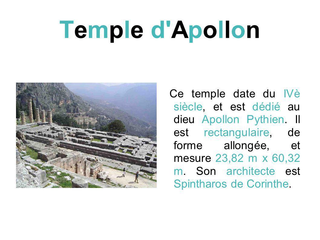 Temple d Apollon Ce temple date du IVè siècle, et est dédié au dieu Apollon Pythien.