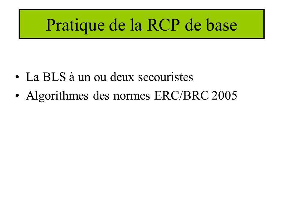 Pratique de la RCP de base La BLS à un ou deux secouristes Algorithmes des normes ERC/BRC 2005