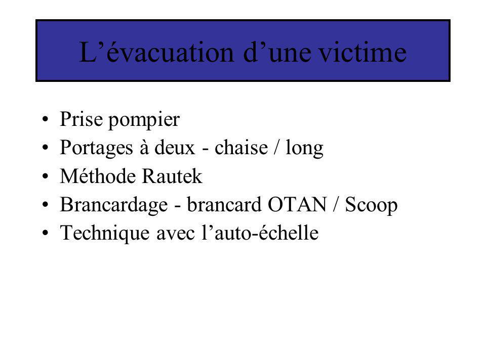 Lévacuation dune victime Prise pompier Portages à deux - chaise / long Méthode Rautek Brancardage - brancard OTAN / Scoop Technique avec lauto-échelle