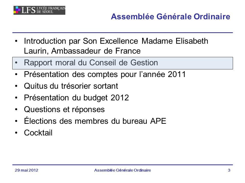 Louis Michel CARON 29 mai 2012Assemblée Générale Ordinaire44