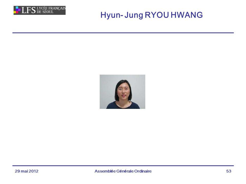 Hyun- Jung RYOU HWANG 29 mai 2012Assemblée Générale Ordinaire53