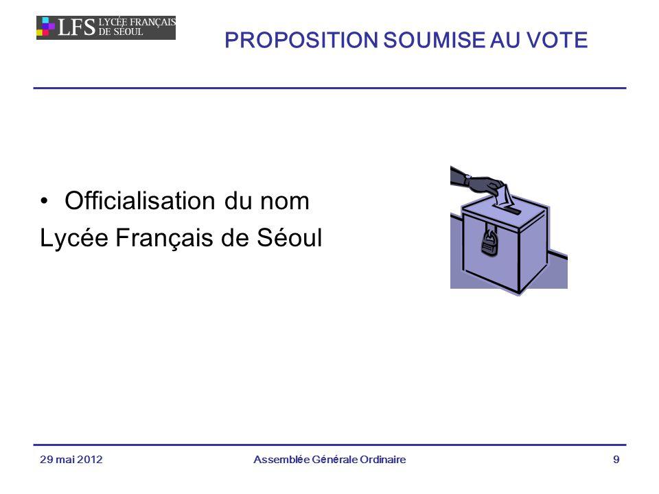 Officialisation du nom Lycée Français de Séoul 29 mai 2012Assemblée Générale Ordinaire9 PROPOSITION SOUMISE AU VOTE