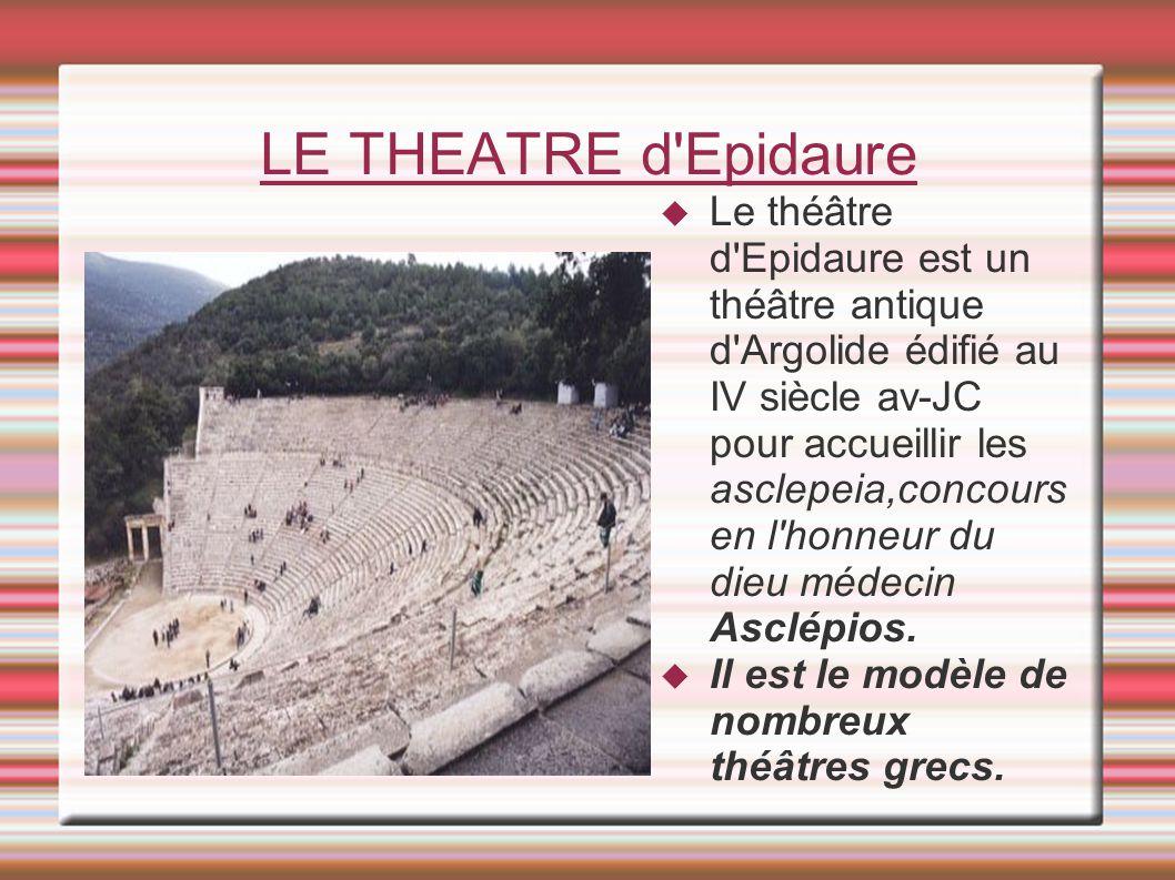 LE THEATRE d'Epidaure Le théâtre d'Epidaure est un théâtre antique d'Argolide édifié au IV siècle av-JC pour accueillir les asclepeia,concours en l'ho