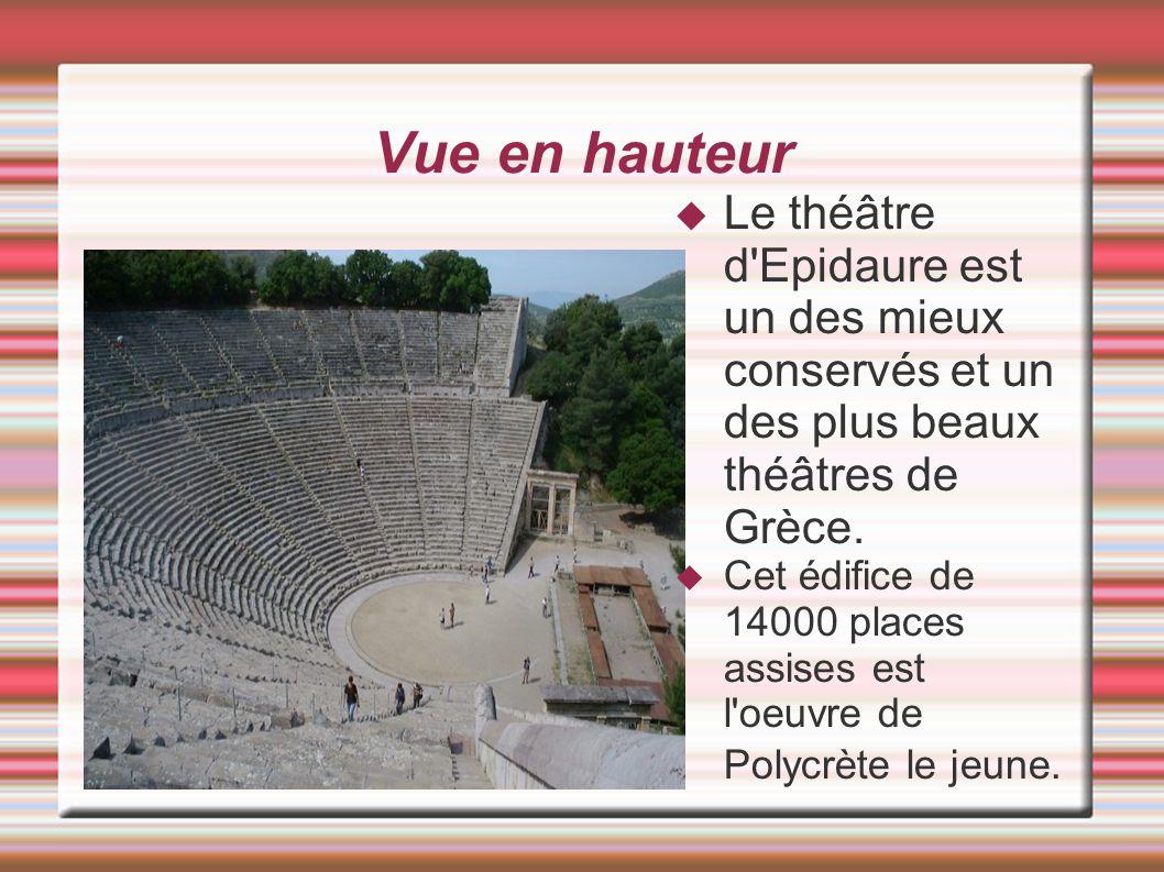 Vue en hauteur Le théâtre d'Epidaure est un des mieux conservés et un des plus beaux théâtres de Grèce. Cet édifice de 14000 places assises est l'oeuv