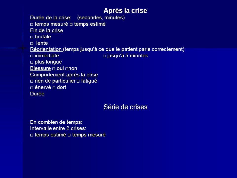 Après la crise Durée de la crise: (secondes, minutes) temps mesuré temps estimé Fin de la crise brutale lente Réorientation (temps jusquà ce que le pa