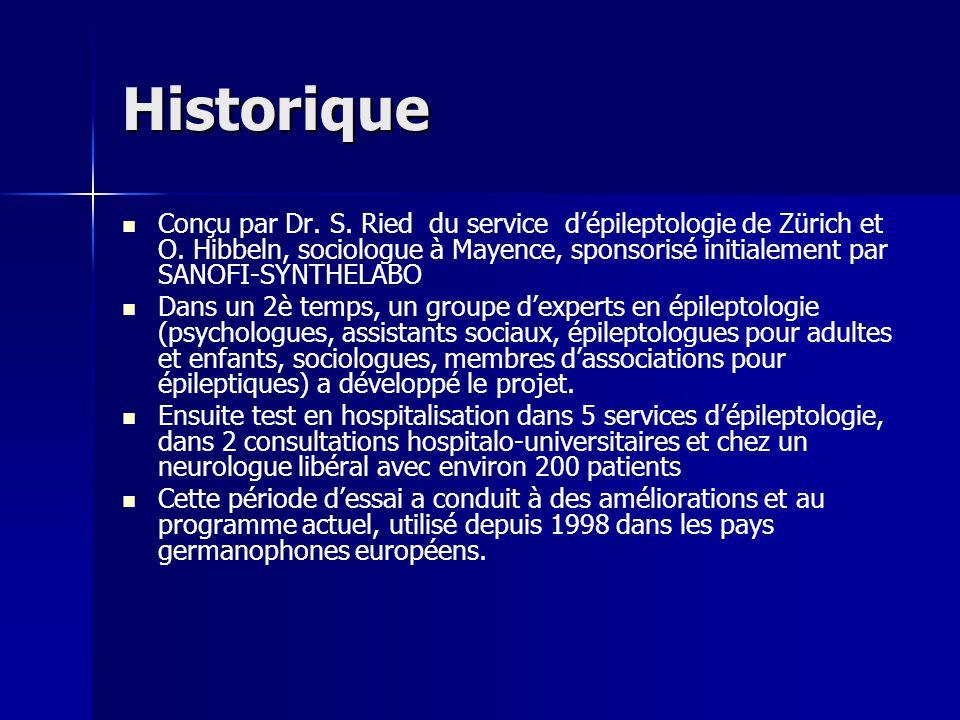 Historique Conçu par Dr. S. Ried du service dépileptologie de Zürich et O. Hibbeln, sociologue à Mayence, sponsorisé initialement par SANOFI-SYNTHELAB