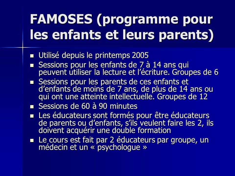 FAMOSES (programme pour les enfants et leurs parents) Utilisé depuis le printemps 2005 Utilisé depuis le printemps 2005 Sessions pour les enfants de 7 à 14 ans qui peuvent utiliser la lecture et lécriture.