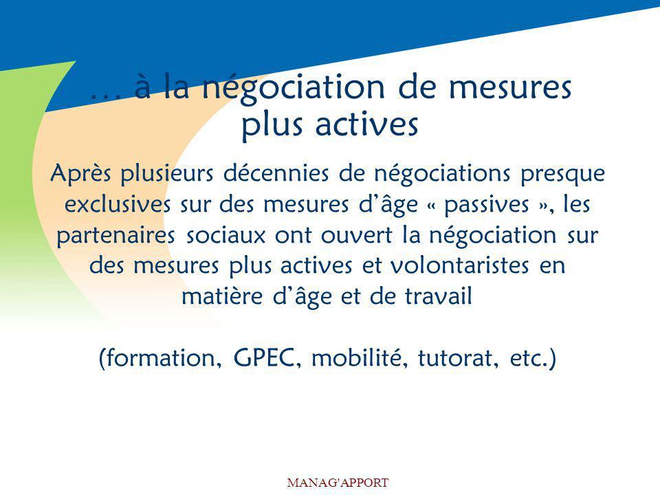 MANAG'APPORT … à la négociation de mesures plus actives Après plusieurs décennies de négociations presque exclusives sur des mesures dâge « passives »