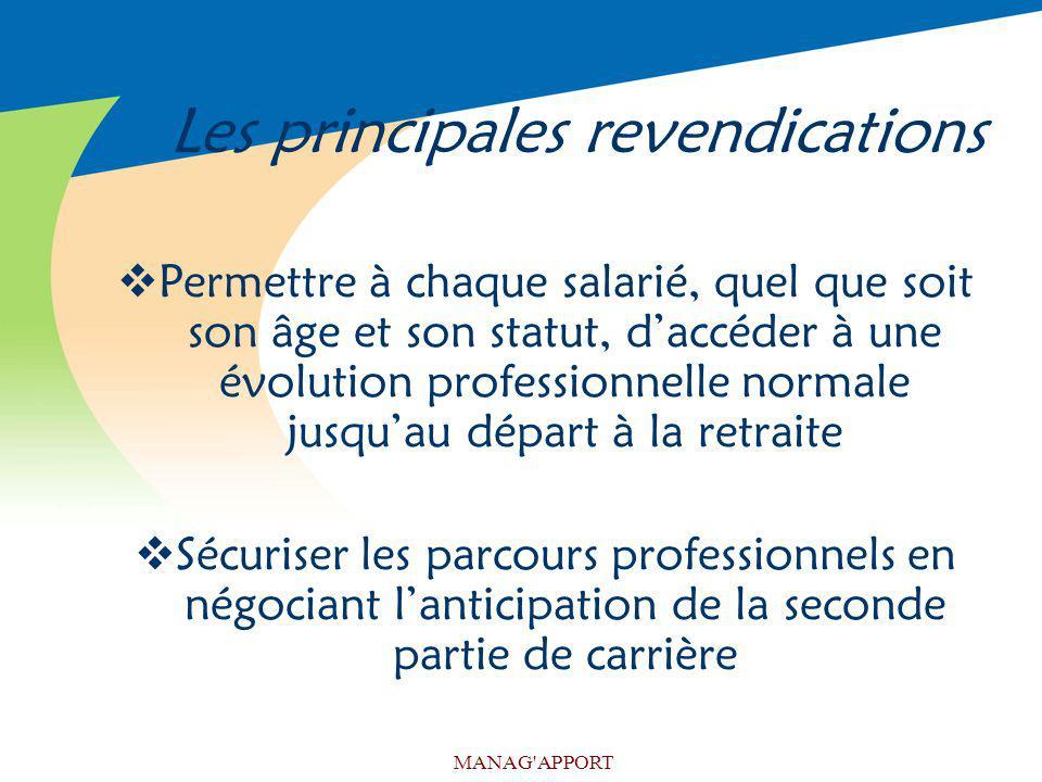 MANAG'APPORT Les principales revendications Permettre à chaque salarié, quel que soit son âge et son statut, daccéder à une évolution professionnelle